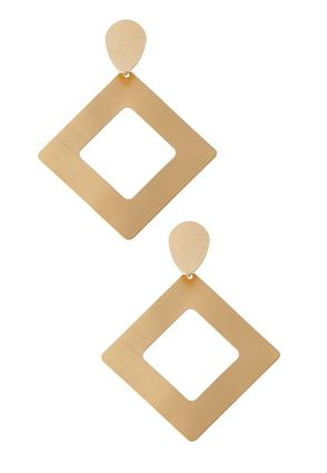 Brushed Gold Geo Earrings