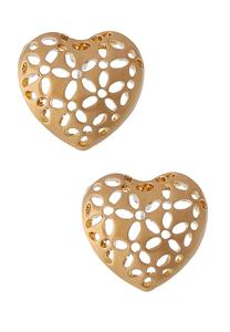 Brushed Heart Button Earrings