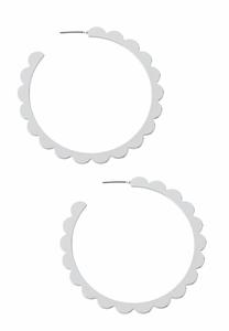 Silver Scalloped Hoop Earrings