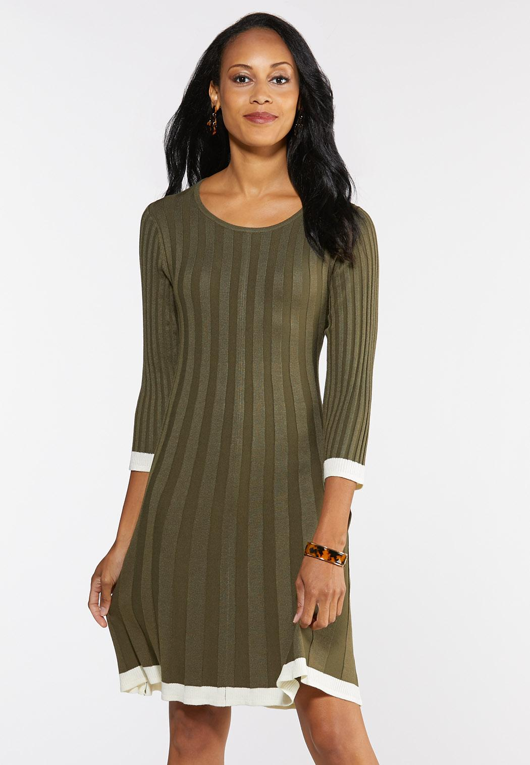 Plus Size Ribbed Knit Swing Dress