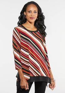 Plus Size Chain Stripe Top