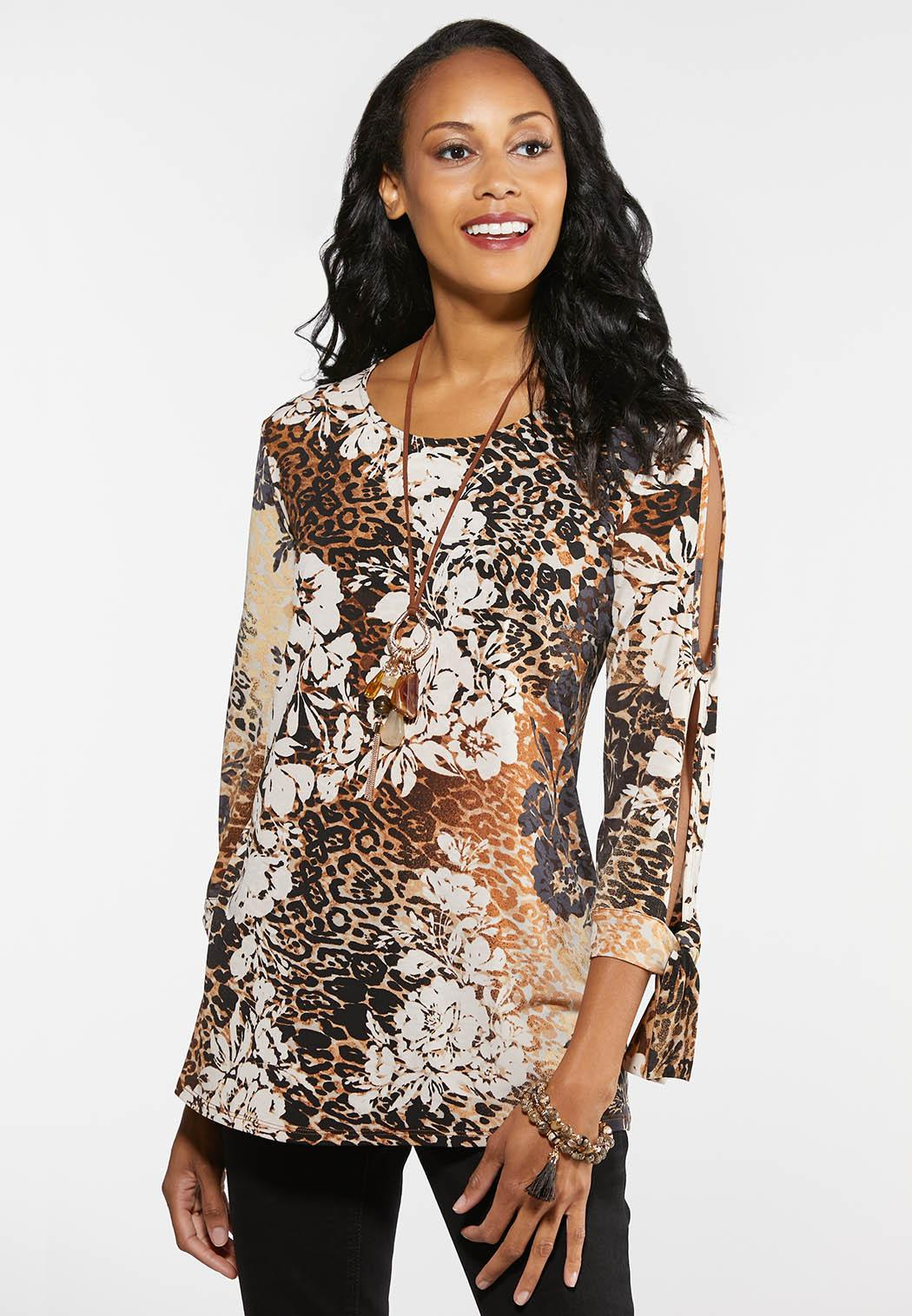 c3aabd4b3c6 Plus Size Tropical Leopard Top Tees & Amp ; Knit Tops Cato Fashions