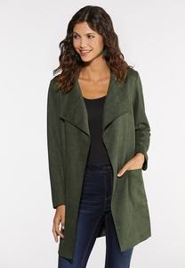 Plus Size Suede Draped Jacket