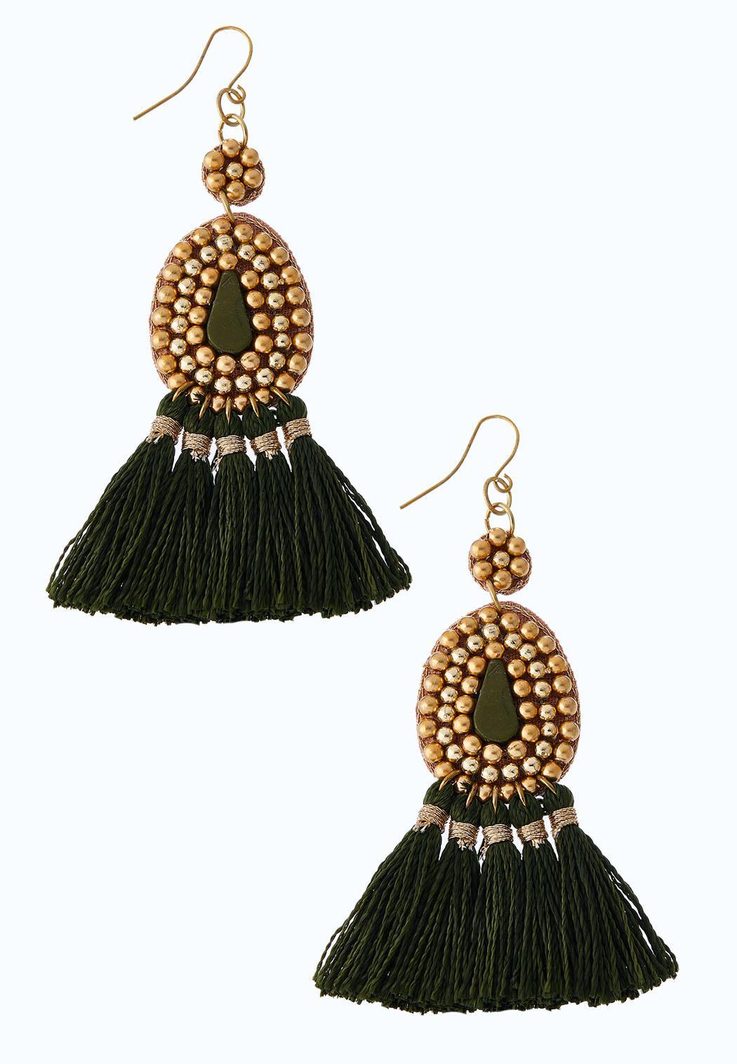 Beaded Olive Tassel Earrings
