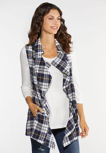 Plus Size Navy Plaid Vest