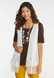Plus Size Lace Knit Vest