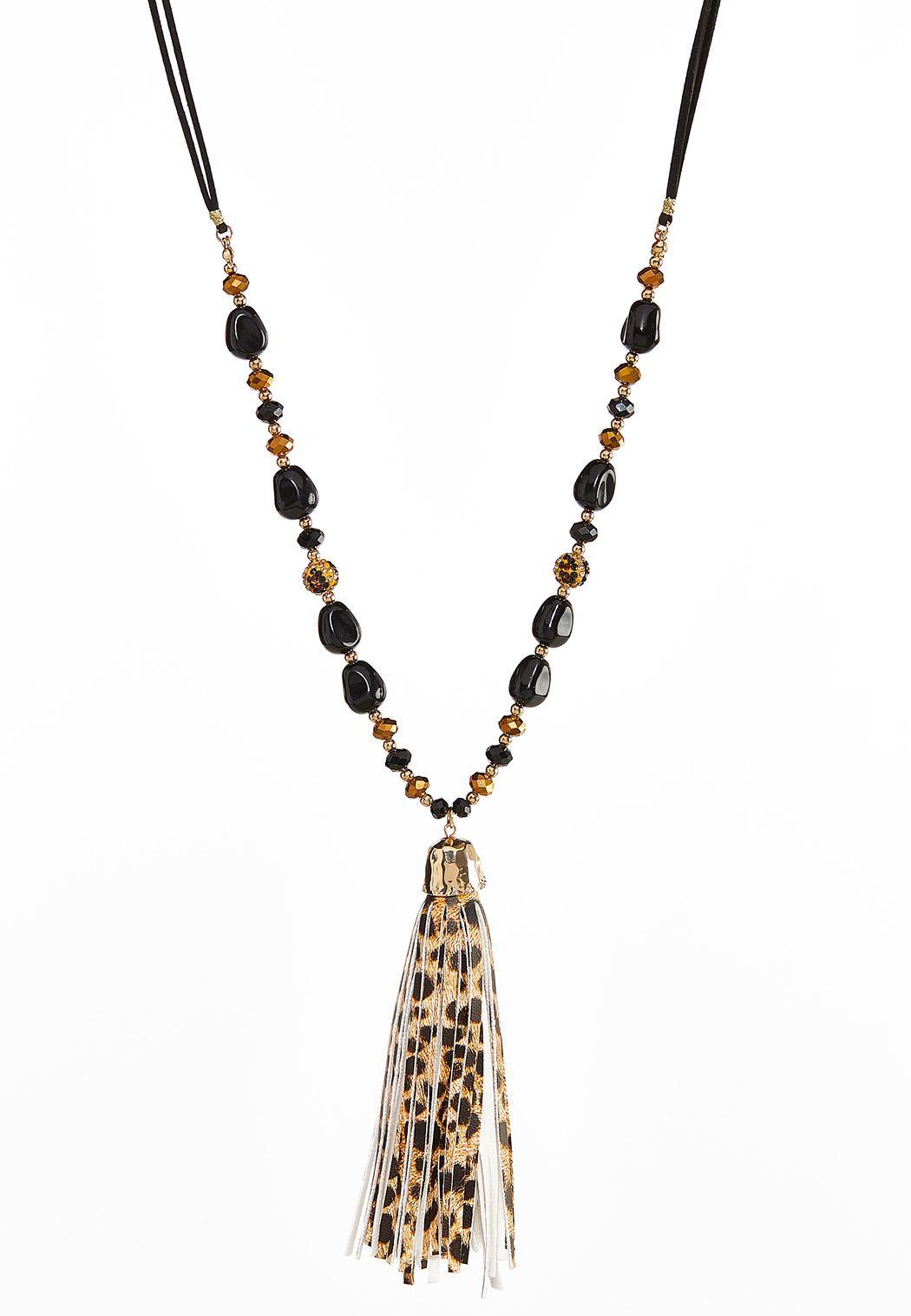 Beaded Leopard Tassel Necklace