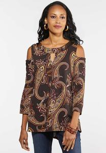 Plus Size Paisley Puff Cold Shoulder Top