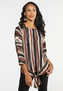 Plus Size Rustic Stripe Tie Front Top