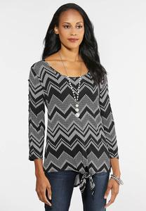 Button Sleeve Chevron Top