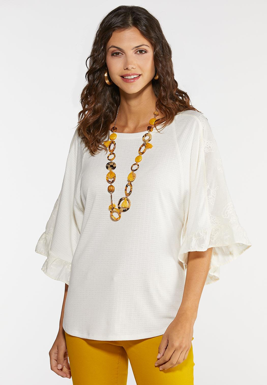 Plus Size Embroidered Flutter Sleeve Top