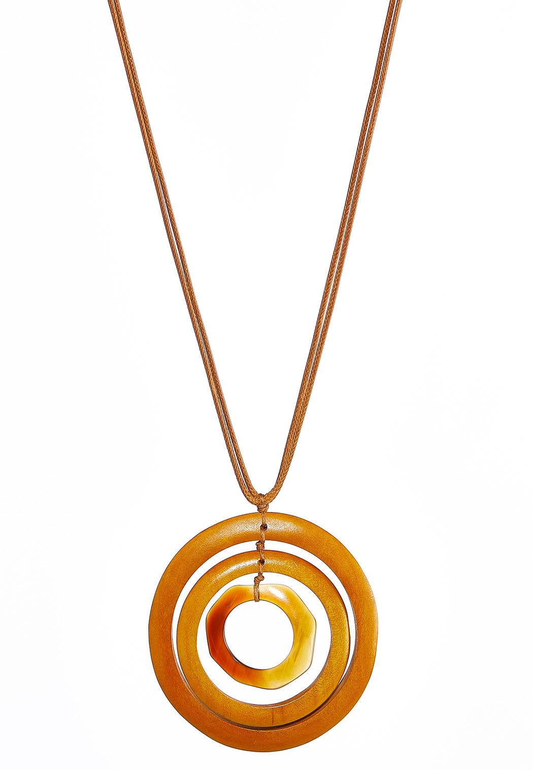 Wood Ring Pendant Cord Necklace