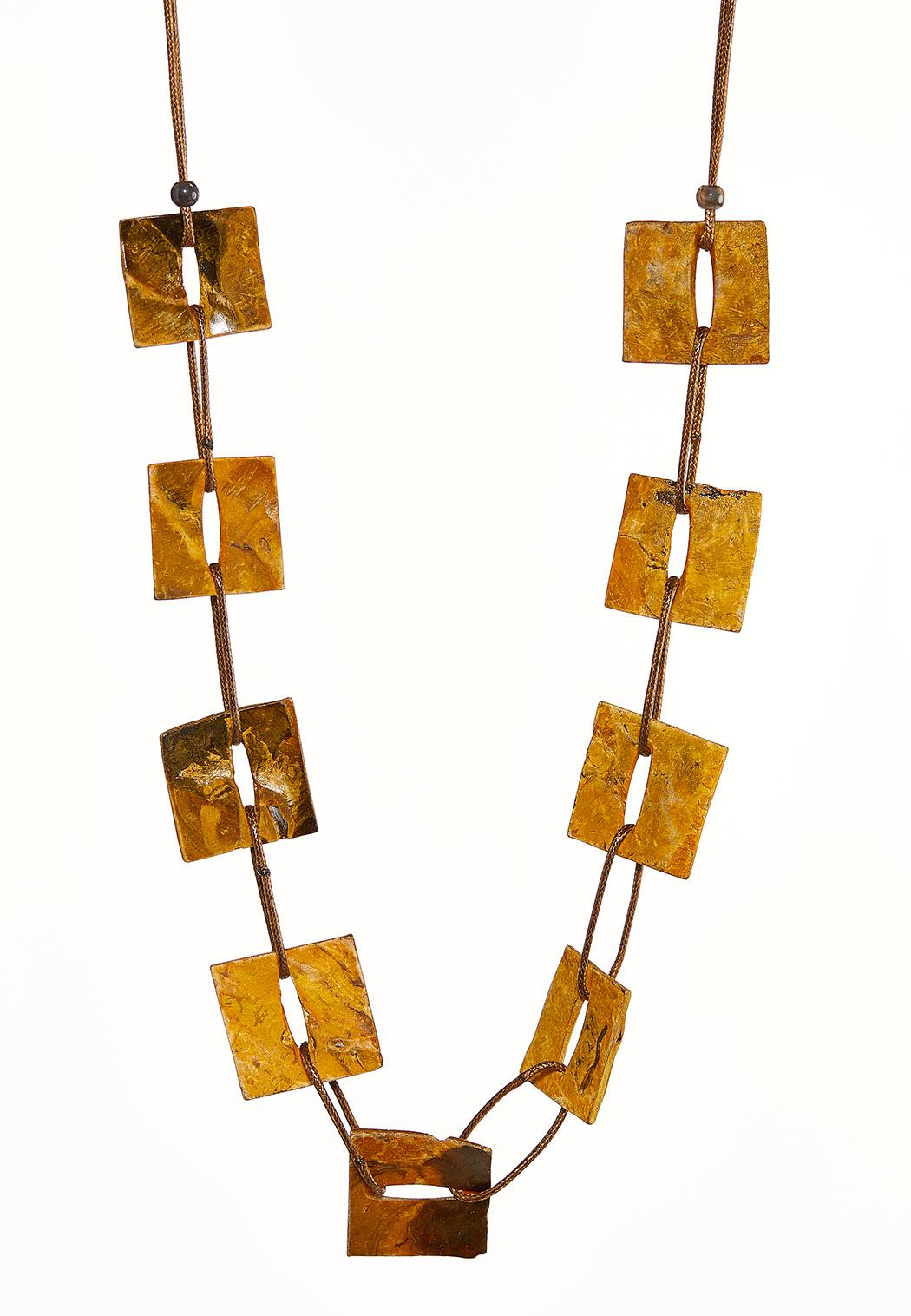 Square Shell Disc Cord Necklace