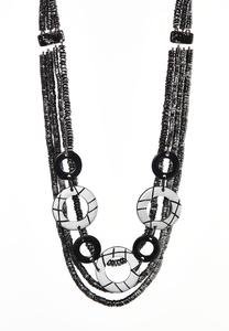 Layered Gunmetal Bead Necklace