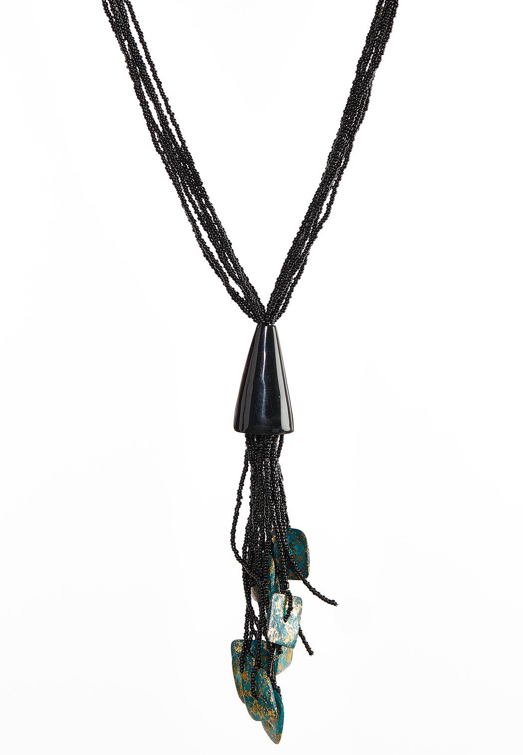 Shell Seed Bead Tassel Necklace