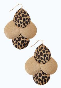 Leopard And Gold Disc Earrings