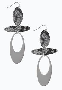 Metal Geo Snakeskin Earrings