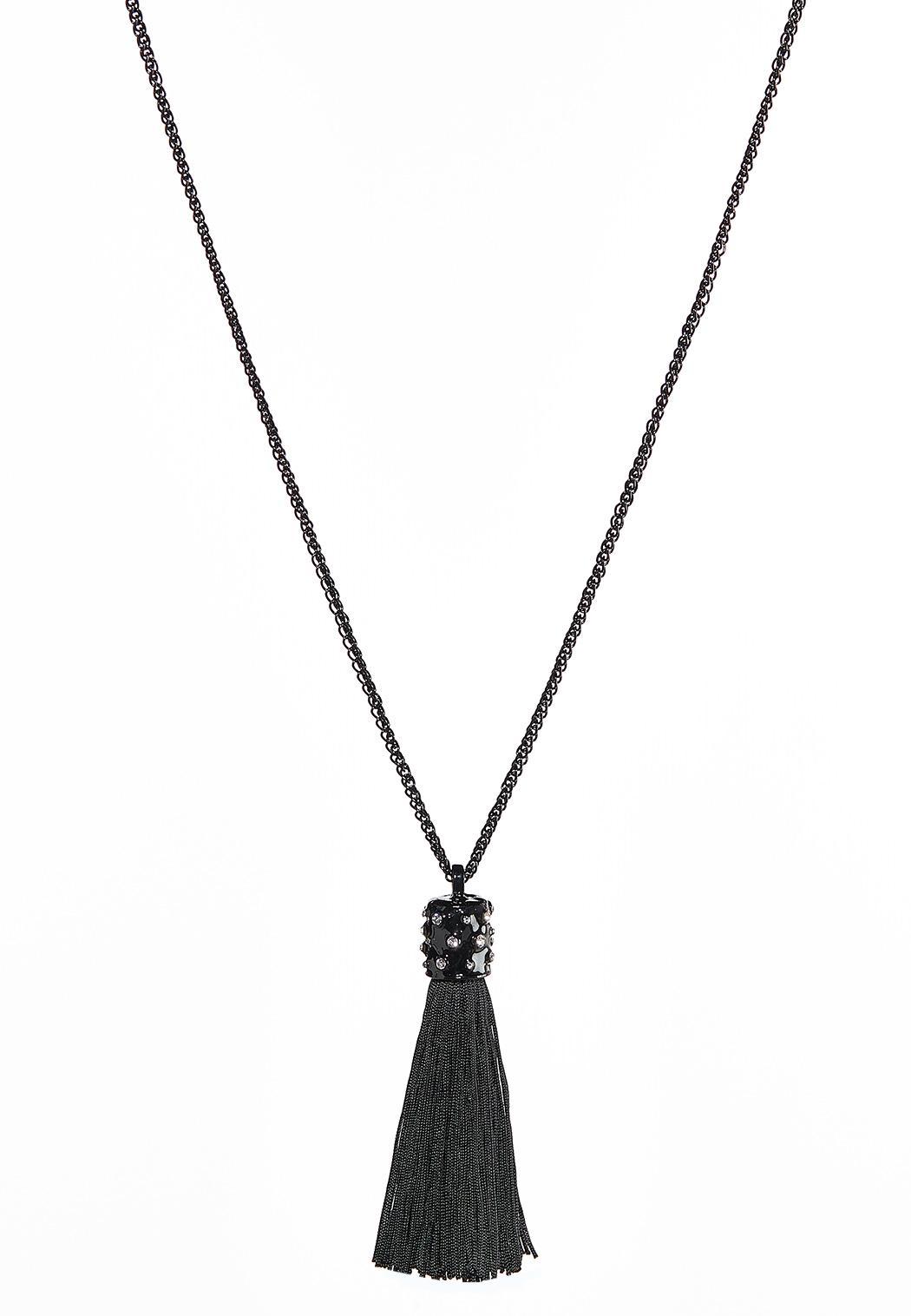 Enamel Stone Tassel Necklace