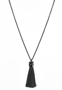 Enamel Stone Tassel Necklace