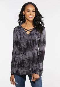 Plus Size Tie Dye Cross Neck Top
