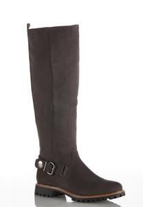 Wide Width Faux Suede Lug Riding Boots