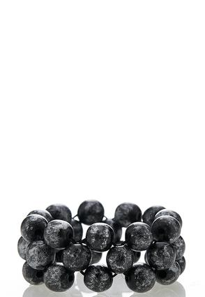 Black Wooden Bead Stretch Bracelet