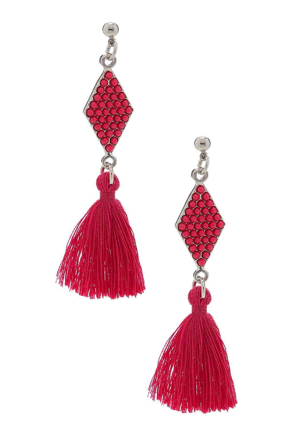 Tasseled Diamond Bead Earrings