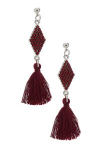 Tasseled Diamond Bead Earrings