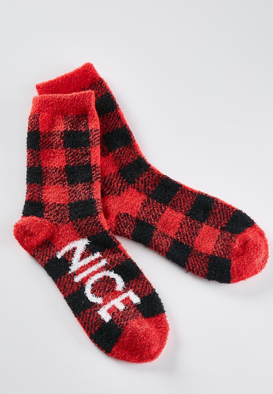 Buffalo Plaid Verbiage Socks