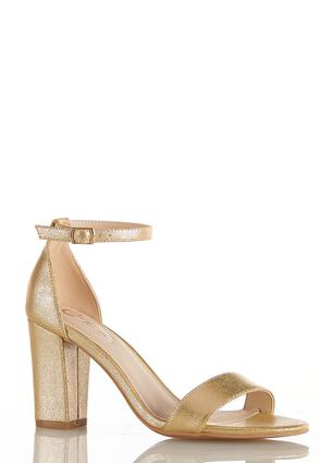 Metallic Gold Ankle Strap Heels