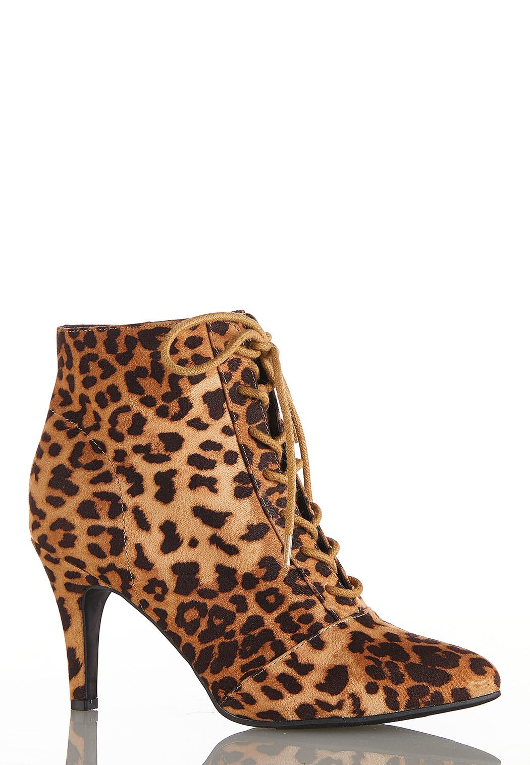 Leopard Lace Up Booties
