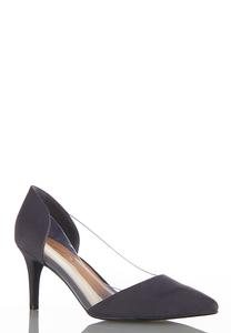Lucite Side Faux Suede Pumps