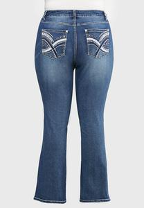 Plus Size Stitched Embellished Jeans