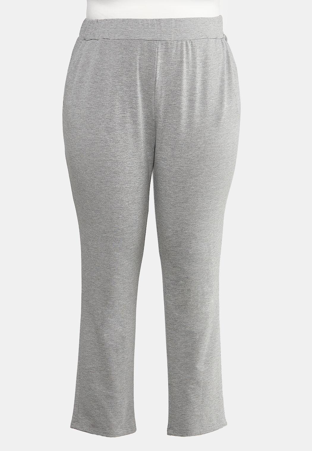 Plus Size Gray Pull- On Pants Bottoms Cato Fashions