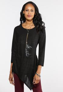 Plus Size Textured Asymmetrical Top
