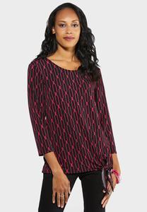 Plus Size Pink Print Tie Top