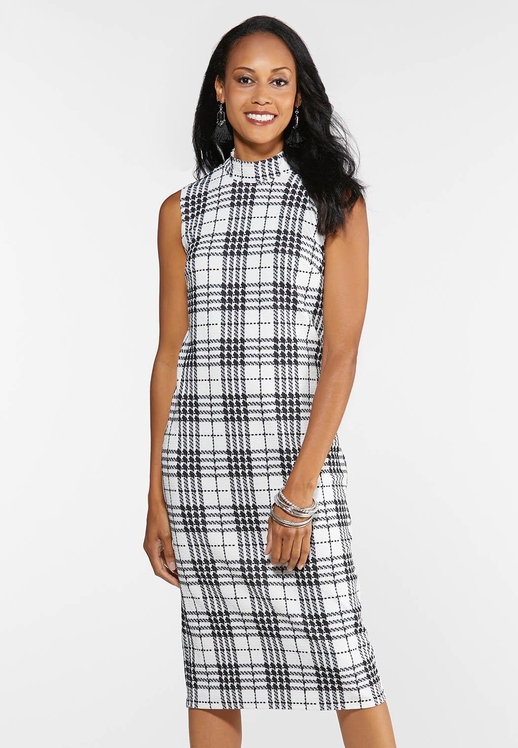Textured Plaid Midi Dress