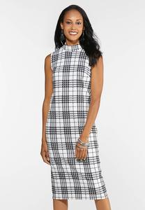 Plus Size Textured Plaid Midi Dress