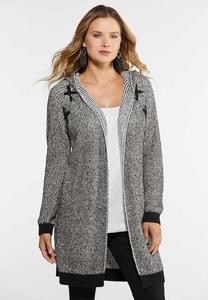Plus Size Grommet Hooded Cardigan