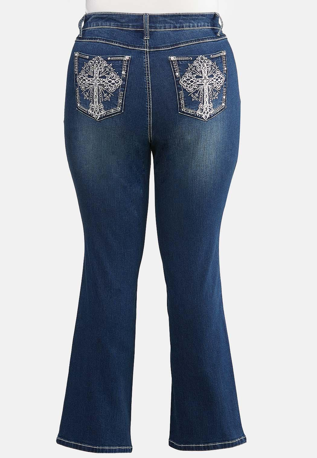 Plus Size Bling Cross Pocket Jeans