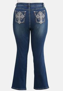 Plus Size Bling Cross Pocket Jeans