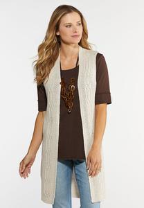 Plus Size Cable Knit Vest