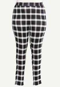 Plus Size Black White Plaid Leggings