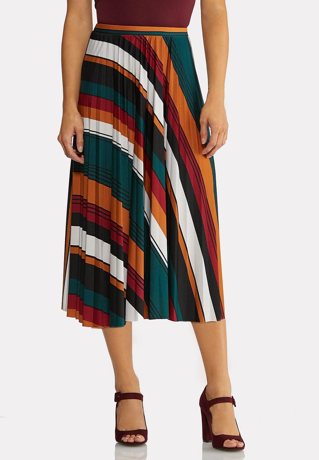 Plus Size Pleated Stripe Midi Skirt