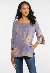 Plus Size Square Neck Floral Top