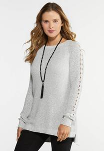 Plus Size Braid Sleeve Sweater