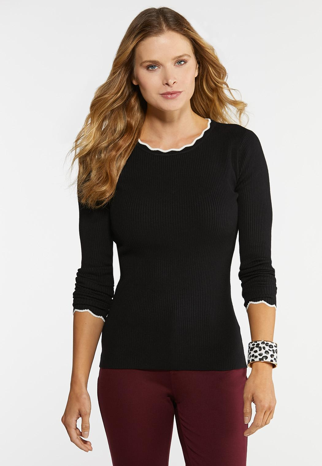 Plus Size Ribbed Scalloped Trim Sweater