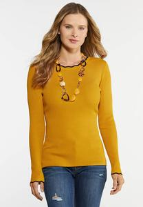 Ribbed Scalloped Trim Sweater