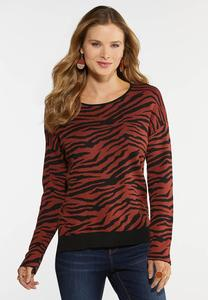 Tiger Print Pullover Sweater