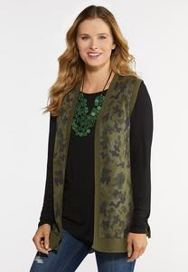 Plus Size Camo Knit Vest